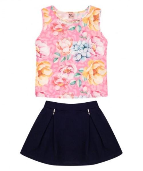 Conjunto Infantil Verão Tropical Floral, 2 peças - Quebra Cabeça