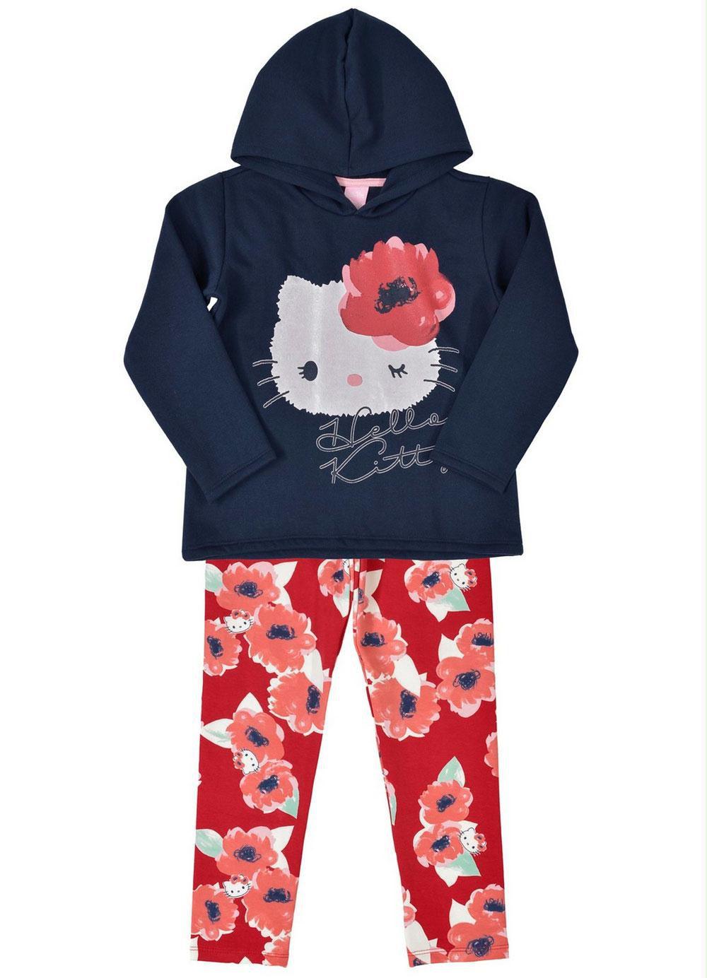 Conjunto Infantil Inverno Calça Floral - 2 peças - Hello Kitty