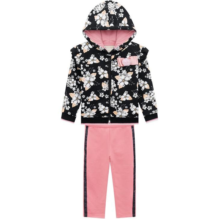 Conjunto Infantil Inverno Com Capuz, Flores, 2 peças - Milon - 1 - Preto