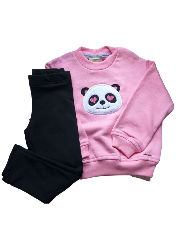 Conjunto Infantil Inverno Menina Em Moletom, Panda, 2 peças - Vrasalon - 2 - Rosa