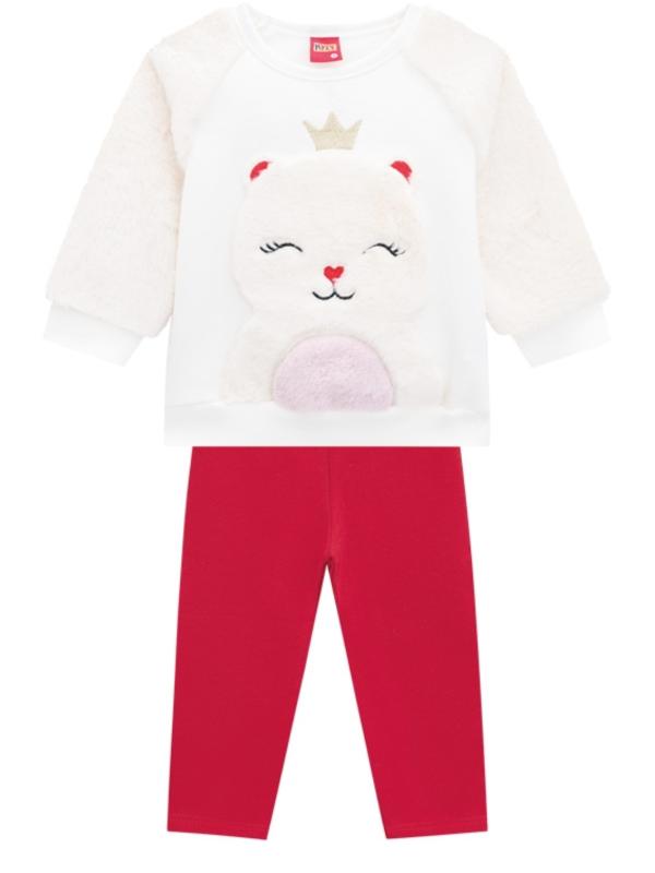 Conjunto Infantil Inverno Ursa Princesa, 2 peças - Kyly - 8 - Creme