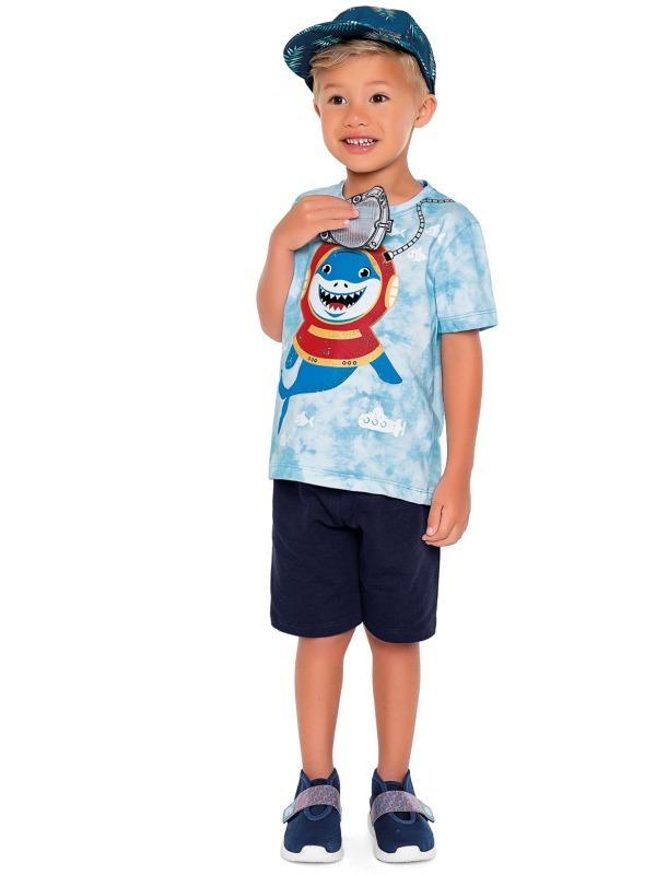 Conjunto Infantil Menino Verão, Estampa Interativa, Tubarão, 2 peças - Fakini - 3