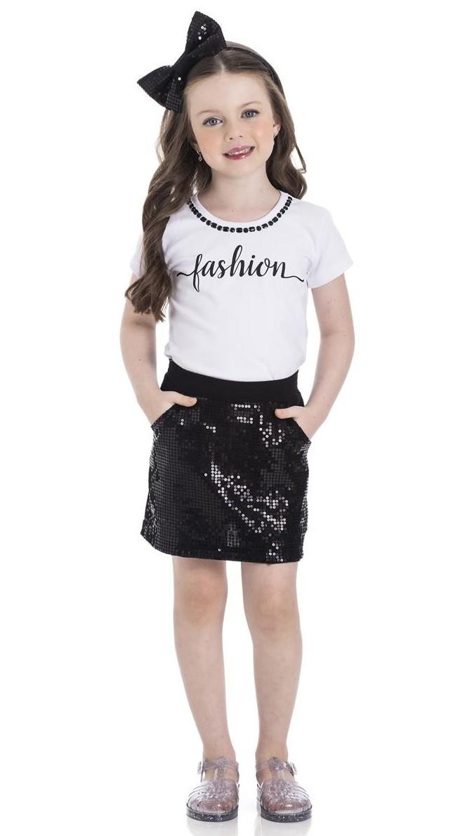 Conjunto Infantil Verão Fashion, Blusa e Short Saia, 2 peças - Gueda - 8 - Branco