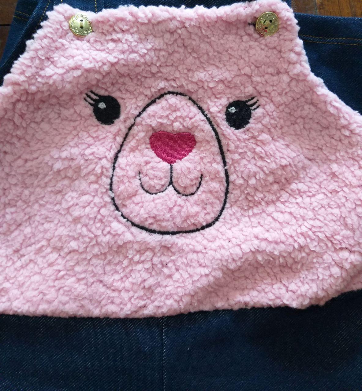 Jardineira Bebê Menina Inverno Cotton Jeans Com Pêlo Rosa - Gueda