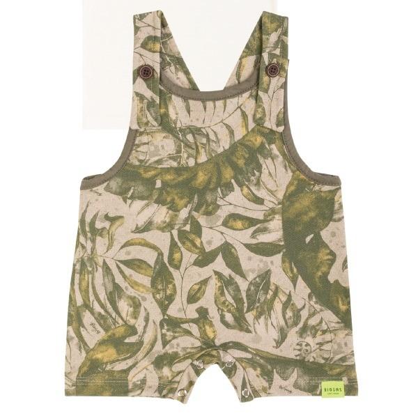 Jardineira Bebê Menino Verão Folhagens E Camiseta, 2 peças - Biogás