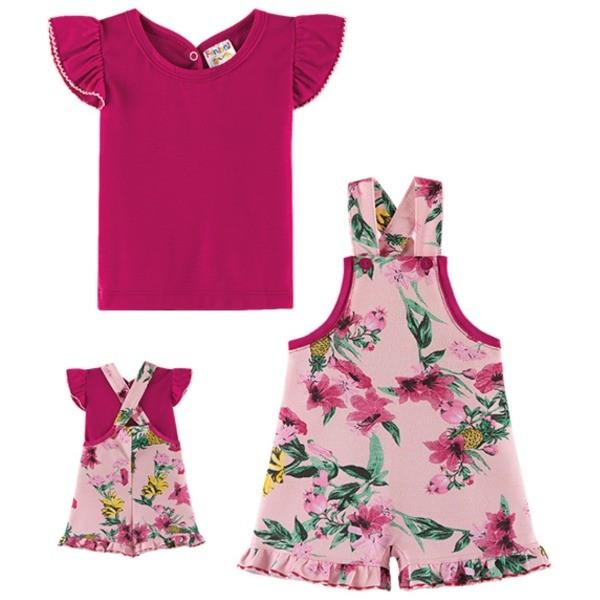 Jardineira Floral Bebê Menina Verão E Blusa, 2 peças  - Fantoni