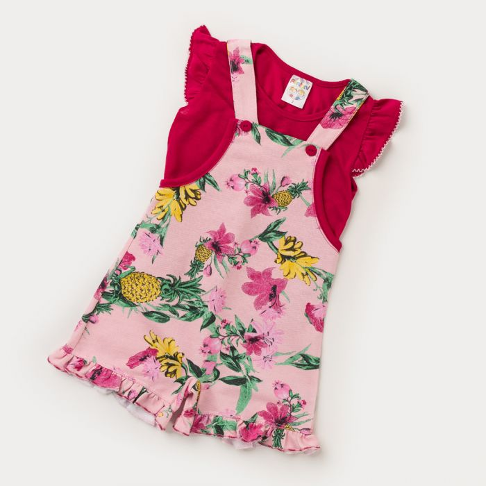 Jardineira Floral Infantil Verão E Blusa, 2 peças  - Fantoni