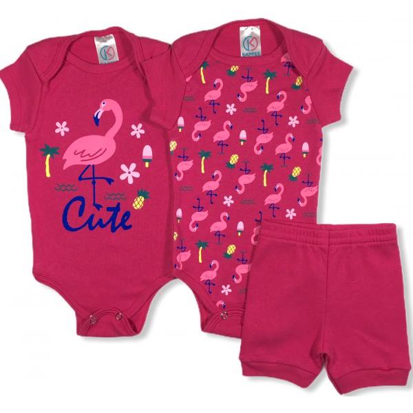 Kit Body Bebê Menina Flamingo Pink, 3 peças  - Kappes
