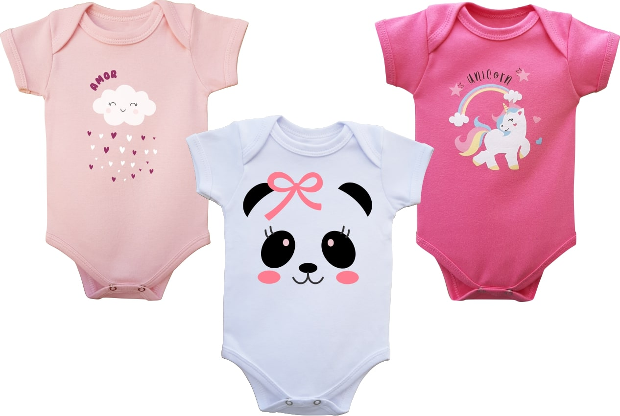 Kit Body Bebê Menina Verão Panda, 3 peças  - Doctor Baby