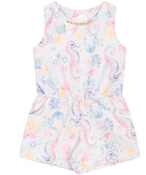 Macacão Infantil Verão Menina Cavalo Marinho Azul - Quebra Cabeça