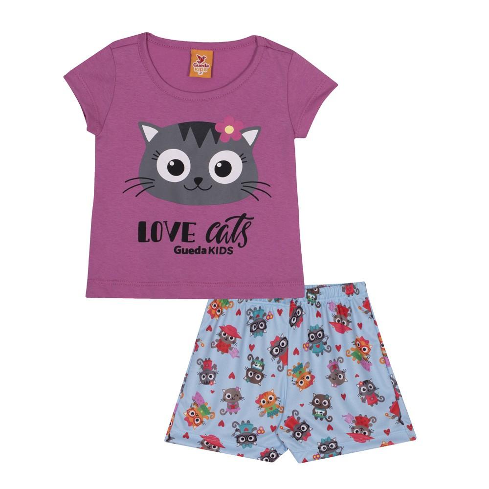 Pijama Infantil Verão Love Cats, 2 peças - Gueda