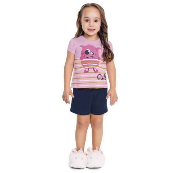 Pijama Infantil Verão Monstrinho Fofo, Brilha No Escuro, 2 peças - Fakini