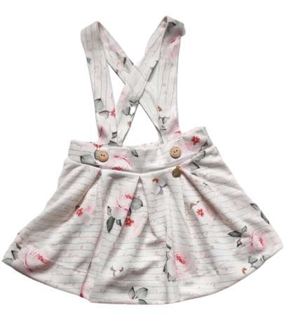 Salopete E Body Infantil Verão Rosas, 2 peças - Kiki Xodó