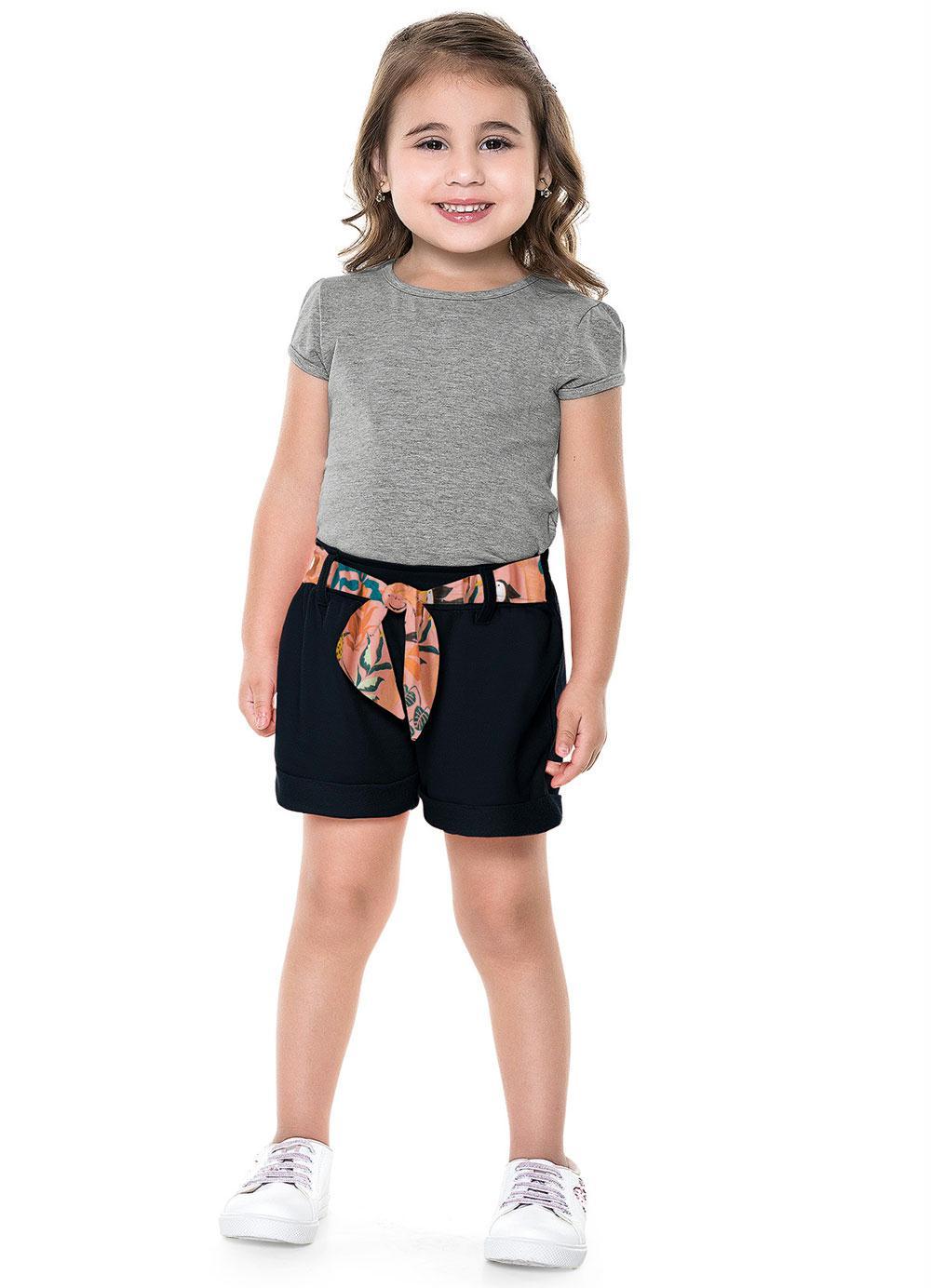 Short Infantil Cinto Floral - Fakini
