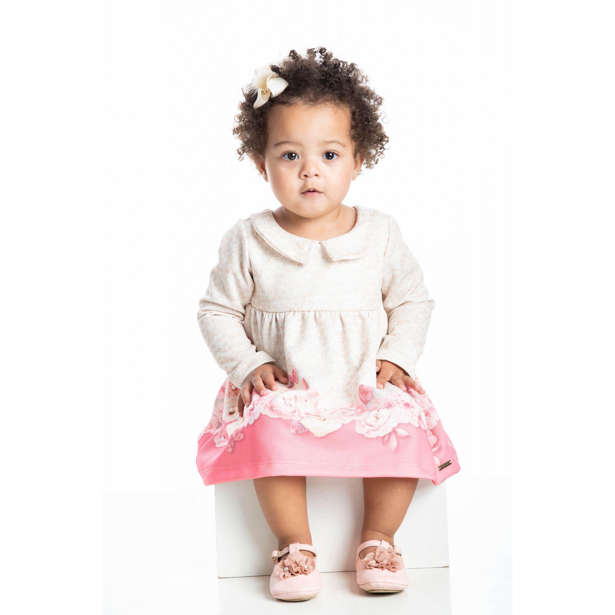 Vestido Bebê Inverno Rosas - Quebra Cabeça