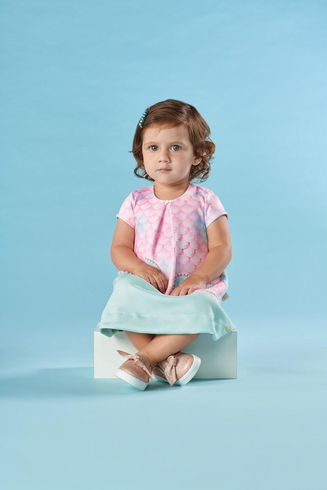 Vestido Bebê Verão Sereia - Kiki Xodó