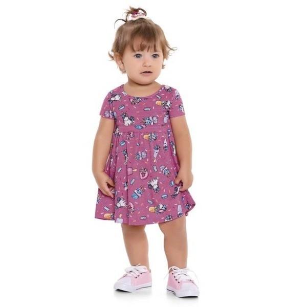 Vestido Bebê Verão Unicórnio, Rosa  - Fakini forfun