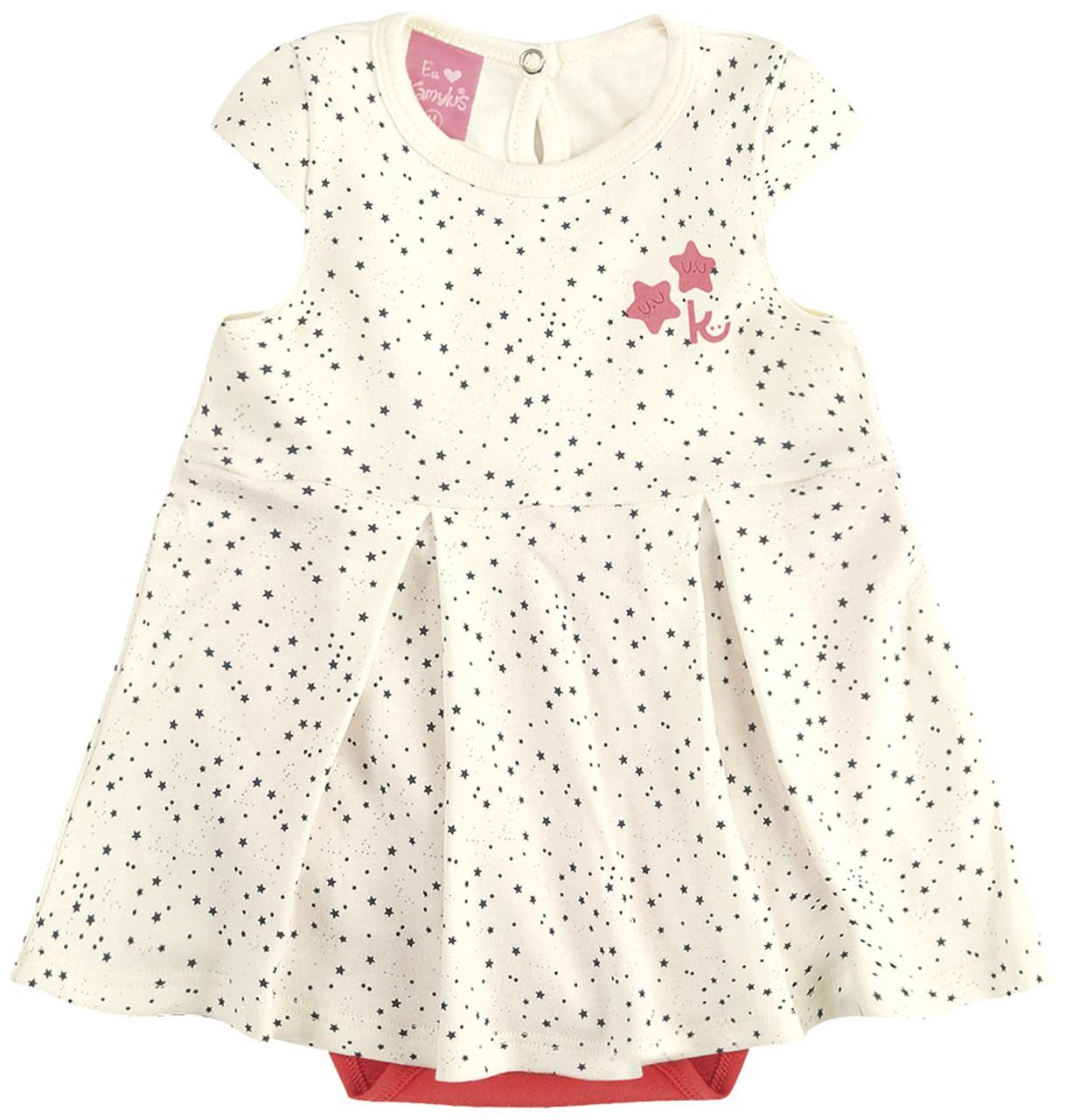 Vestido Body Bebê Verão Estrelas - Kamylus