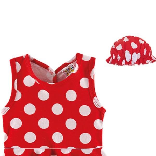 Vestido Body Bebê Verão Poá, Com Chapéu - Fantoni