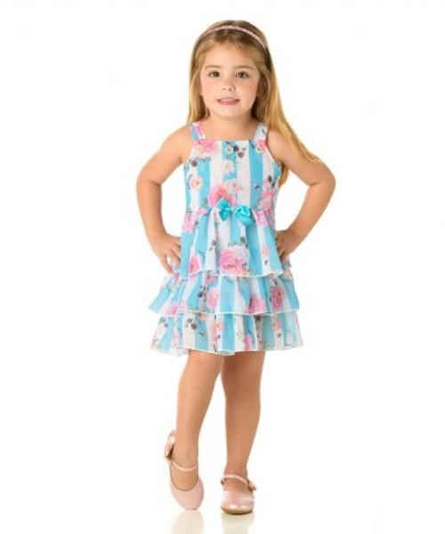 Vestido Infantil Verão Listras Floral - Quebra Cabeça