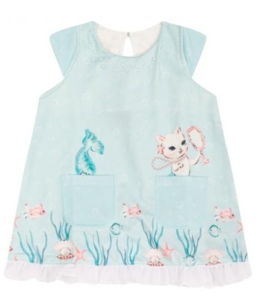 Vestido Bebê Verão Mermaid Turquesa; Com Calcinha - Quebra Cabeça