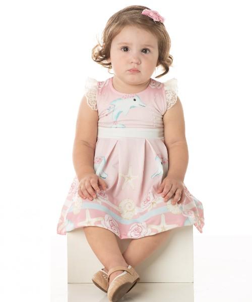Vestido Bebê Verão Golfinho, Acompanha Calcinha - Quebra Cabeça