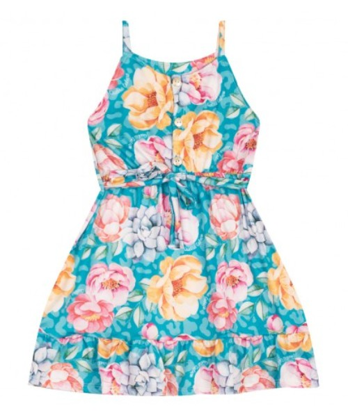 Vestido Infantil Verão Tropical Floral Turquesa - Quebra Cabeça