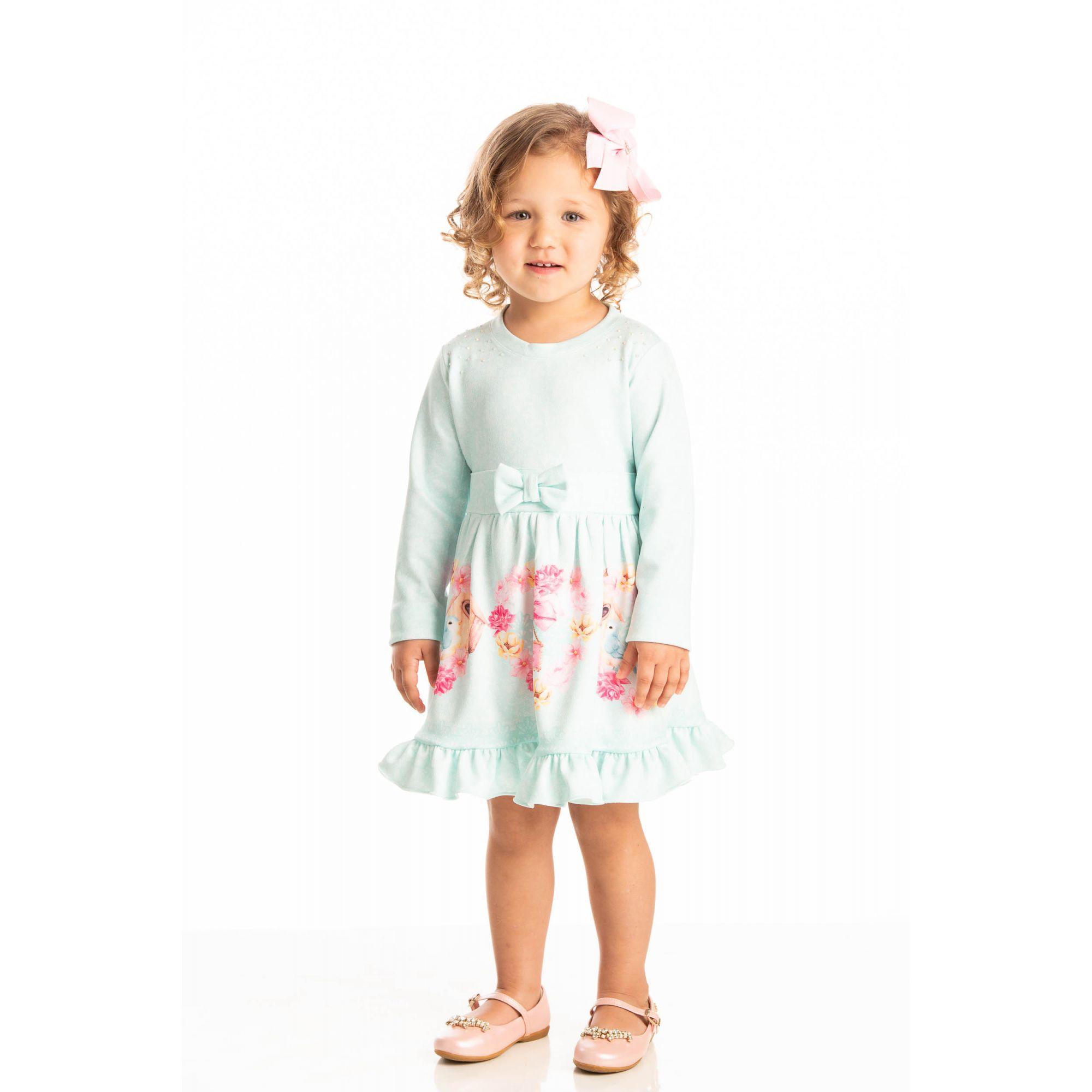 Vestido Infantil Inverno Detalhe Floral - Quebra Cabeça