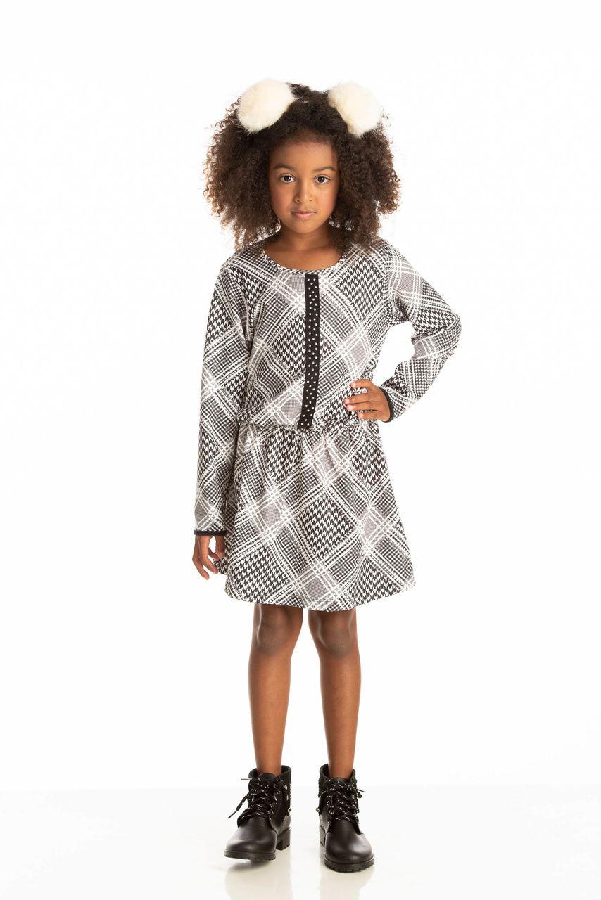 Vestido Infantil Inverno Xadrez - Quebra Cabeça