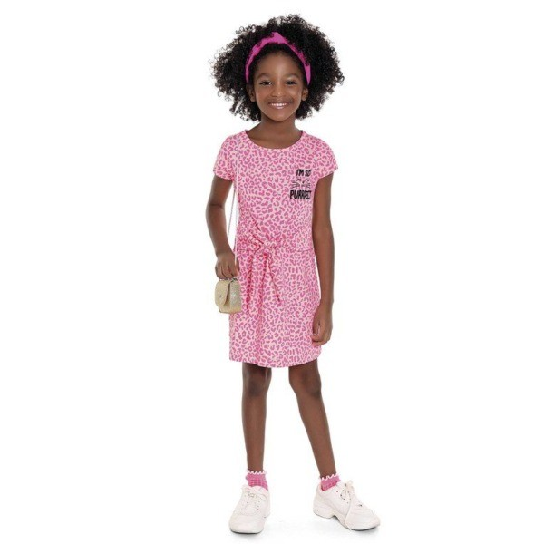 Vestido Infantil Verão Animal Print Rosa Neon  - Fakini