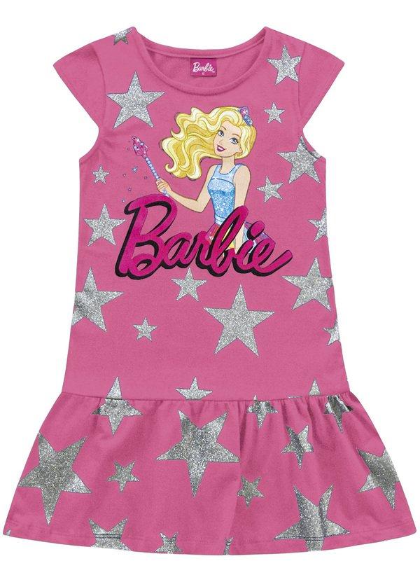 Vestido Infantil Verão Barbie Dreamtopia Estrelas   - Fakini
