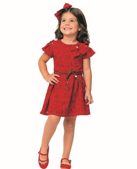 Vestido Infantil Verão Em Lazie Vermelho - Angerô
