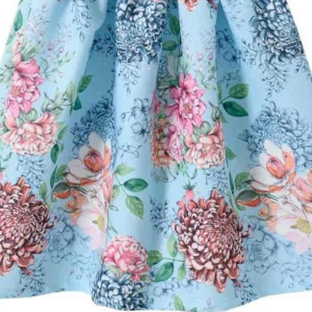 Vestido Infantil Verão Flores Coloridas, Azul Claro - Pic Esconde