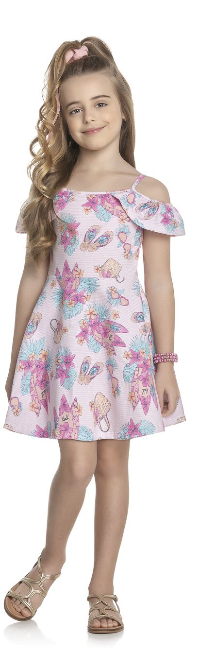 Vestido Infantil Verão Flores - Kely & Kety