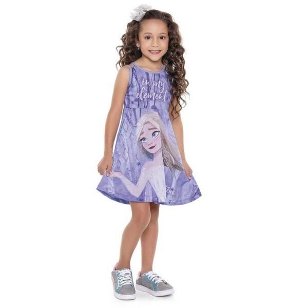 Vestido Infantil Verão Frozen II, Cor Lilás - Fakini