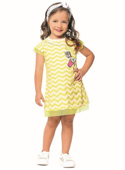 Vestido Infantil Verão Listrado Neon - Angerô