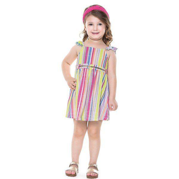 Vestido Infantil Verão Listras - Fakini