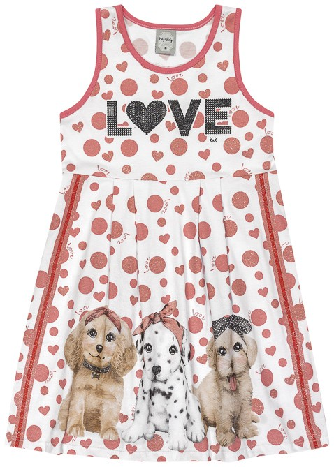 Vestido Infantil Verão Love Cachorrinhos - Romitex
