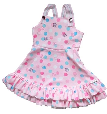 Vestido Infantil Verão Poá Rosa - Kiki Xodó