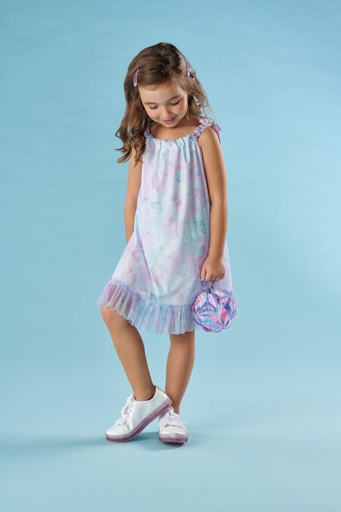 Vestido Infantil Verão Sereia, Tamanho 3 - Kiki Xodó