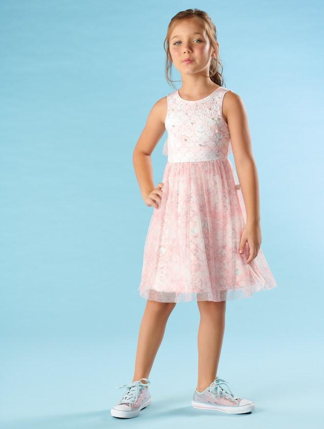 Vestido Infantil Verão Tule Sereia - Kiki Xodó