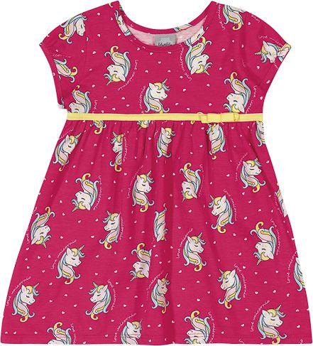 Vestido Infantil Verão Unicórnio Corações - Kely & Kety