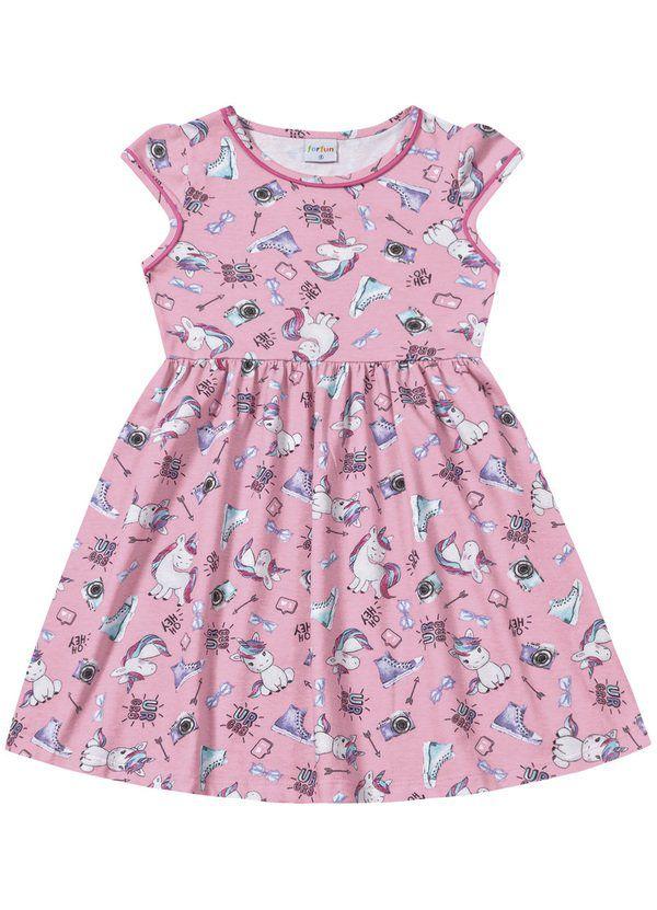 Vestido Infantil Verão Unicórnio - Fakini ForFun