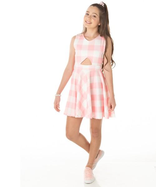 Vestido Infantil Verão Xadrez Rosa - Quebra Cabeça