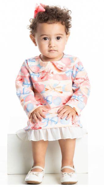 Vestido Inverno Bebê Laços - Quebra Cabeça