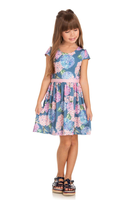 Vestido Infantil Verão Hortênsias - Quebra cabeça