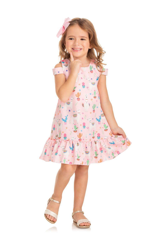 Vestido Infantil Verão Lhamas - Quebra cabeça