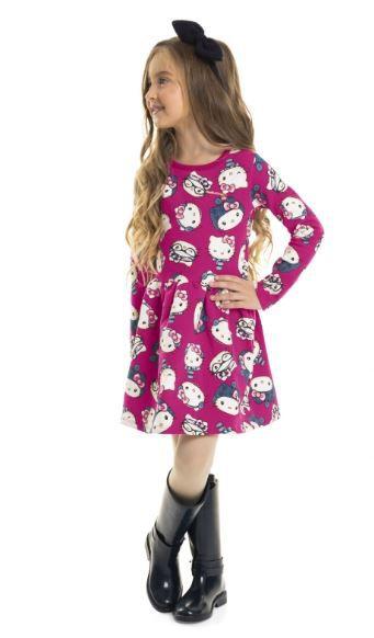 Vestido Manga Longa em Molecotton - Hello Kitty