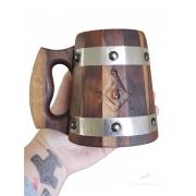Caneca de Madeira Medieval 350ml Maçonaria em Madeira Imbuia feitas 100% a mão