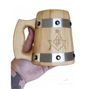Caneca de Madeira Medieval 350ml Maçonaria em Madeira Pinheiro feitas 100% a mão